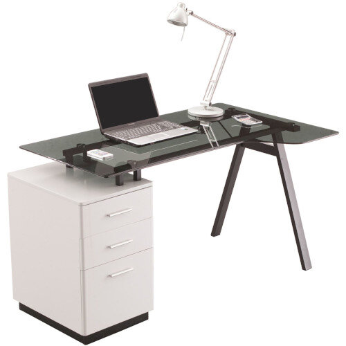 Cleveland 4 Home Office Desk with Smoked Grey Tempered Glass Worktop &White Three Drawer Pedestal Hx750 Wx1510 Dx800