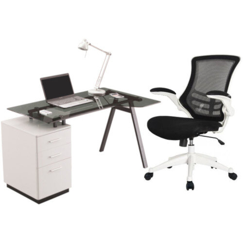 Cleveland 4 Home Office Desk with Smoked Grey Tempered Glass Worktop White Three Drawer Pedestal &Executive High Back Mesh OP Office Chair White
