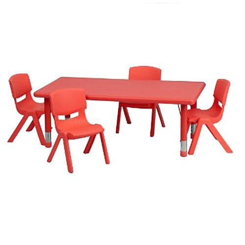 Height Adjustable Polyethylene Preschool Table Rectangular Red 400-600mm High YAY0012R