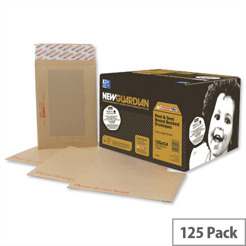 New Guardian Window Board Backed Envelopes C4 Peel and Seal Manilla Pack 125
