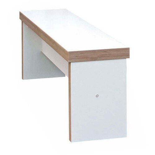 Frovi BLOCK Medium White Panel Bench Seat W1600mm For 1800mm Table With Ply Effect Edge W1600xD280xH400mm