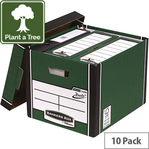Fellowes Bankers Box Premium 726 Tall Archive Storage Box Green and White Pack 10
