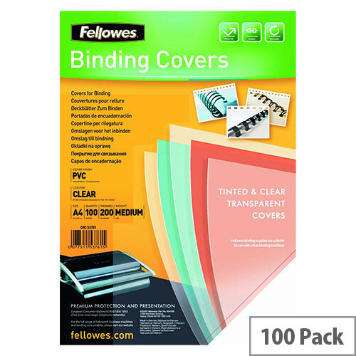 Fellowes Transparent Plastic Cover 200micron Pack of 100 A4