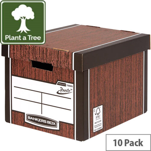Fellowes Bankers Box Premium 726 Tall Archive Storage Box Woodgrain Pack 10