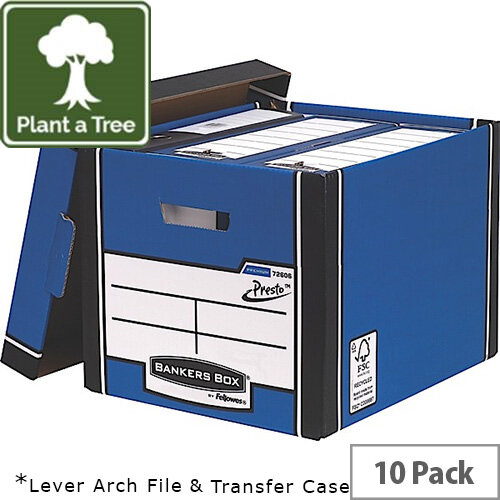 Fellowes Bankers Box Premium 726 Tall Archive Storage Box Blue and White Pack 12