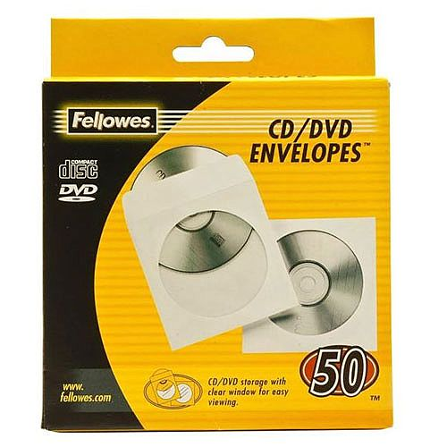 Fellowes CD Envelope Paper White Pack of 50 90690