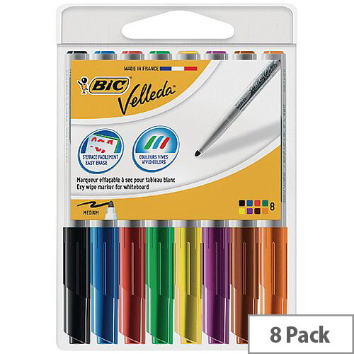 Bic Velleda 1741 Drywipe Assorted Markers Pack of 8 1199001748
