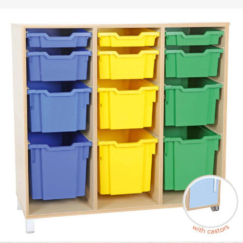 Tray Storage Large Cabinet For Plastic Container 3 Jumbo, 3 Big, 3 Deep and 3 Shallow Trays With Castors H106cm