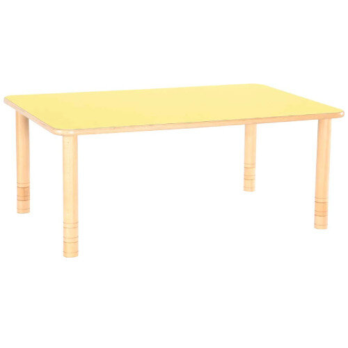 Flexi Rectangular Height Adjustable Table 48-58cm Yellow Top