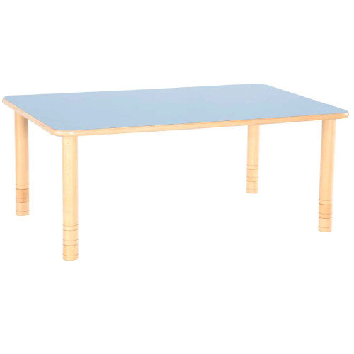 Flexi Rectangular Height Adjustable Table 48-58cm Blue Top