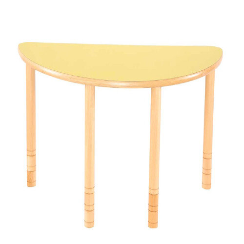 Flexi Half Round Height Adjustable Table 48-58cm Yellow Top