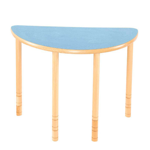 Flexi Half Round Height Adjustable Table 48-58cm Blue Top