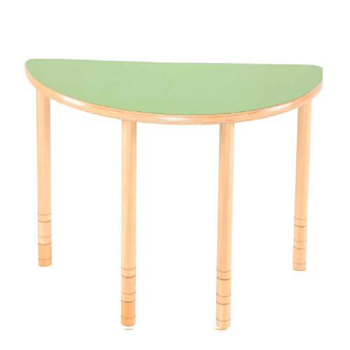Flexi Half Round Height Adjustable Table 48-58cm Green Top
