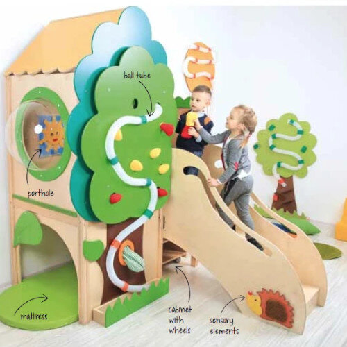 Tree House - Educational Toy - Exercise Games, Sensory Panels, Develop Visual-Motor Coordination - Accessories Included