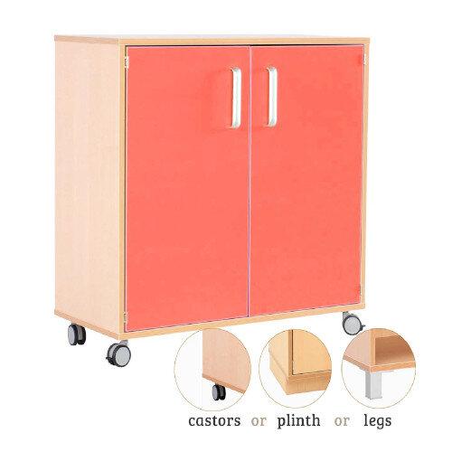 Medium Cabinet With Doors Red H87cm