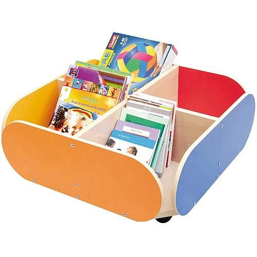 Book Container on Wheels with 4 Compartments 600x600x200mm