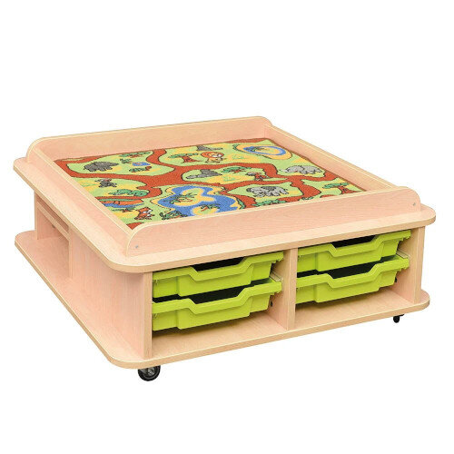 Toddler Low Square Play Table 2 Storage Shelves &4 Green Trays Included H370mm