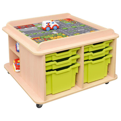 Square Play Table - Supplied with Containers for Extra Storage - Educational Toy - Handy Storage