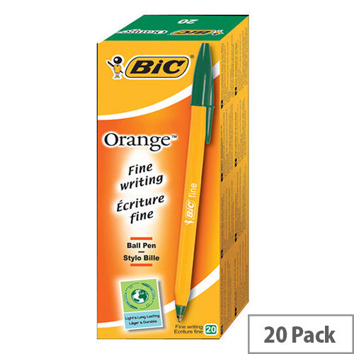 Bic Orange Ballpoint Pen Green Pack 20