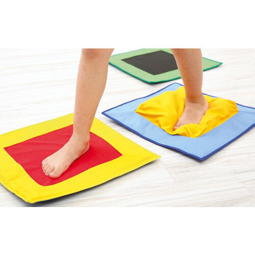 Textured Squares - Basic Set - Made of Cotton Fabric - Ideal for Sensory Exercises - Assorted Colours