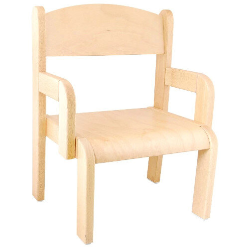 Toddler Chair with Armrets - 21cm - Supports Correct Posture, Eliminates Pressure - Material: Beech wood - Colour: Natural Wood