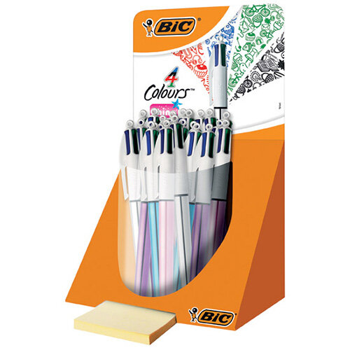Bic 4 Colour Shine Pen Countertop Display Pack of 20 902128