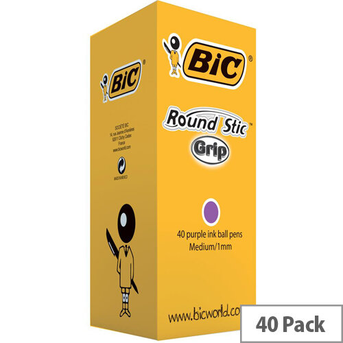 Bic Round Stic Grip Purple Pack of 40 920412