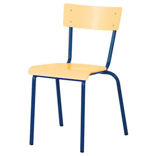 Traditional Plywood Classroom Chair With Waterfall Seat Size 4 380mm Seat Height 8-10 Years Blue Steel Leg