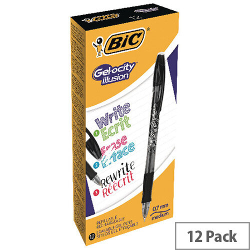 BIC Gelocity Illusion Black Pack of 12 943441
