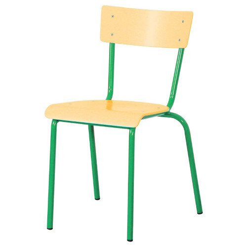 Traditional Plywood Classroom Chair With Waterfall Seat Size 5 430mm Seat Height 11-13 Years Green Steel Leg