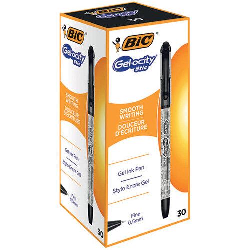 Bic Gelocity Gel Ink Pens 0.5mm Black Pack of 30 CEL1010266