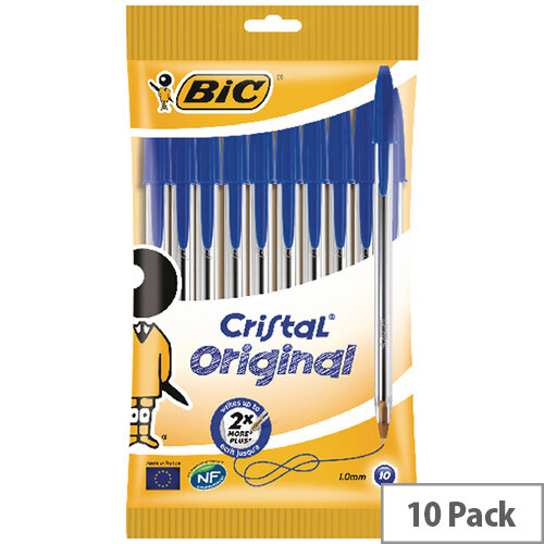 Bic Cristal Ballpoint Pen Medium Blue Pack of 10 830863