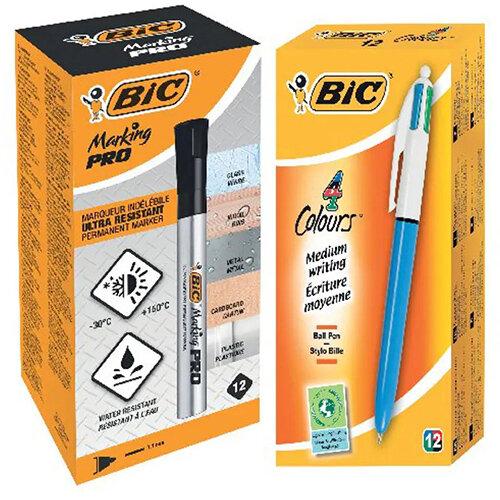 Bic 4 Colours Ballpoint Pen (Pack of 12) FOC Bic Marking PRO Permanent Markers Black Pk12 BC810750