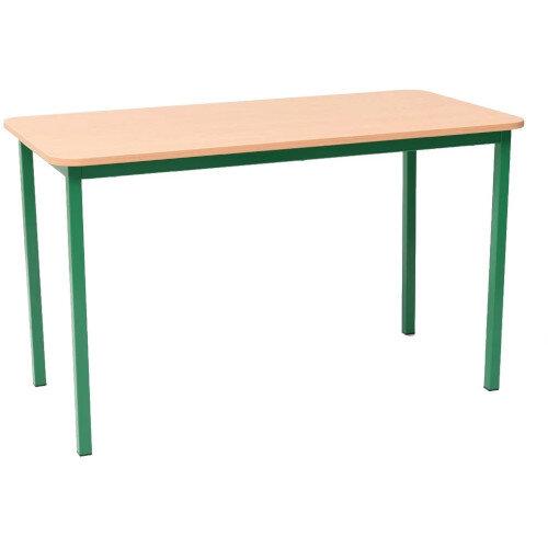 Steel Green Leg Rectangular Classroom Table - Height 710mm