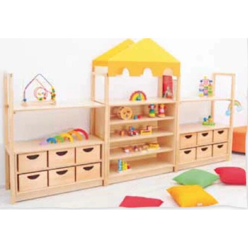 Room Scene - Furniture Set - Self with Plinth, Cabinets, Wooden Frames, Flexi Roof - Natural Wood