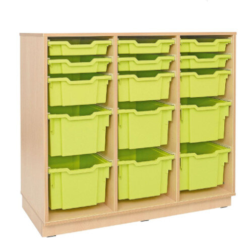 Tray Storage Large Cabinet For Plastic Containers 6 Big, 3 Deep, and 6 Shallow Trays With Castors 106cm