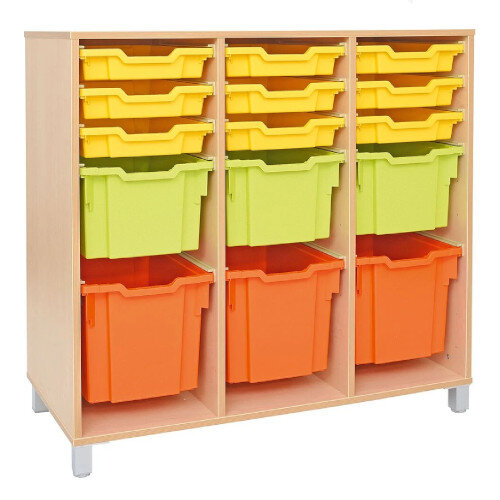Tray Storage Large Cabinet For Plastic Containers 3 Jumbo, 3 Big, 4 Shallow Trays With Castors H106cm