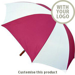 Budget Golf Umbrella in Burgundy / White 31013236 - Customise with your brand, logo or promo text