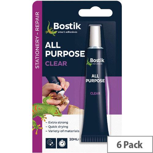 Bostik All Purpose Clear Glue 20ml Pack of 6 80207
