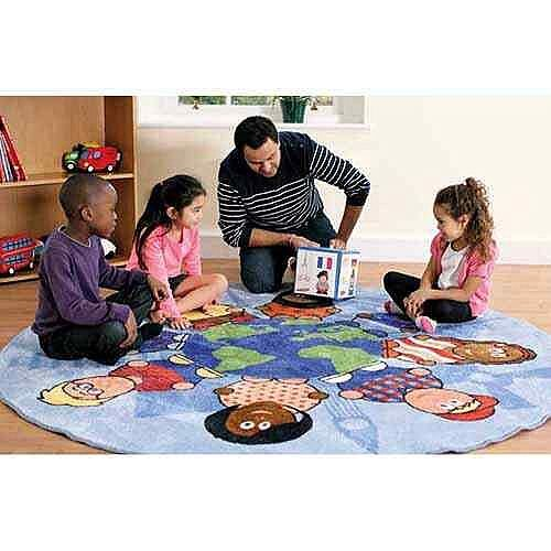Children of the World™ Carpet Heavy Duty Tuf-Pile™ 2m Dia With Free Pocketed Cube