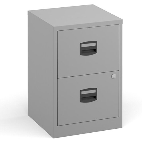 Bisley A4 Home Filer Steel Filing Cabinet With 2 Drawers - Grey