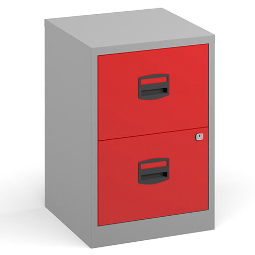 Bisley A4 Home Filer Steel Filing Cabinet With 2 Drawers - Grey With Red Drawers