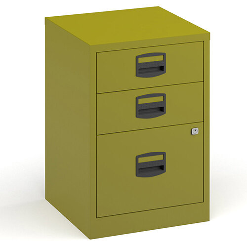 Bisley A4 Home Filer Steel Filing Cabinet With 3 Drawers - Green