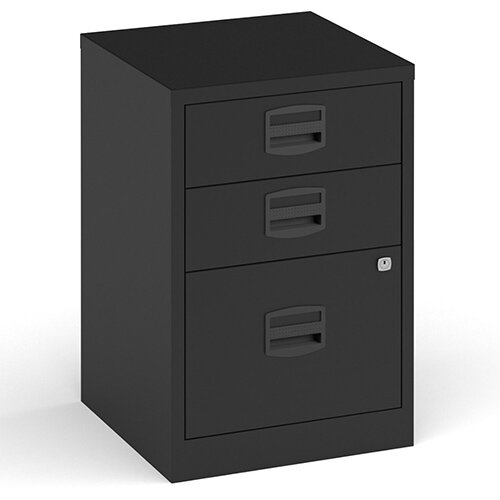 Bisley A4 Home Filer Steel Filing Cabinet With 3 Drawers - Black