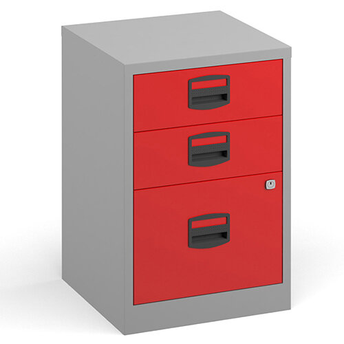 Bisley A4 Home Filer Steel Filing Cabinet With 3 Drawers - Grey With Red Drawers