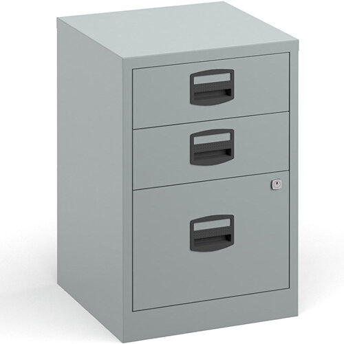 Bisley A4 Home Filer Steel Filing Cabinet With 3 Drawers - Silver