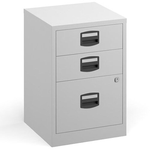 Bisley A4 Home Filer Steel Filing Cabinet With 3 Drawers - White