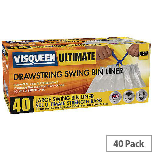 Visqueen Ultimate Swing Bin Liners 50L Drawstring White (40 Liners on Roll) Pack of 1
