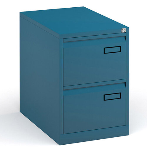 Bisley Steel 2 Drawer Public Sector Contract A4 Filing Cabinet 711mm High - Blue
