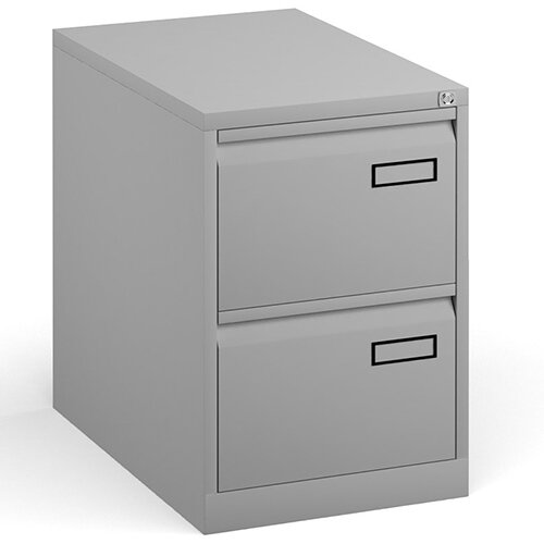 Bisley Steel 2 Drawer Public Sector Contract A4 Filing Cabinet 711mm High - Goose Grey